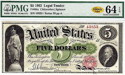 United States Legal Tender - 1862 - Fr 61a - PMG Choice Unc 64 EPQ - Gold!