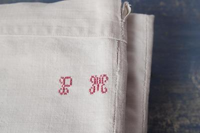 Antique French Linen white hand loomed metis sheet P.M monogram french textile