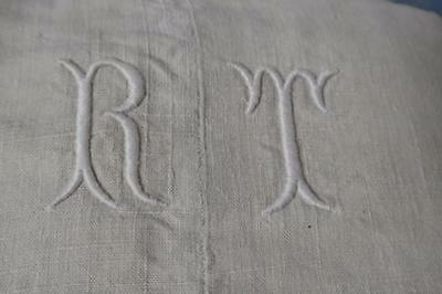 Antique French Linen sheet chanvre hemp hand loomed monogrammed rustic french
