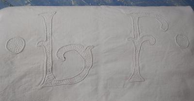 Antique French Linen sheet white monogram french textile dowry trousseau L.F