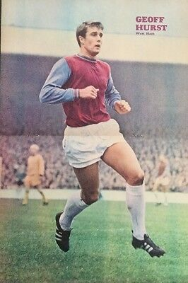 1968 STUNNING A3 Football action picture poster GEOFF HURST West Ham + England