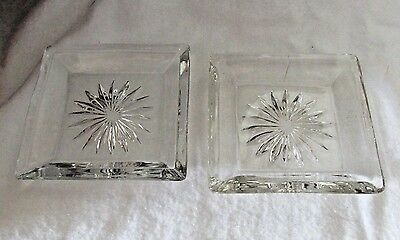 Heisey Elegant Glass  Crystal Small Square Pin Trays Or Butter Pats Lot Of 2
