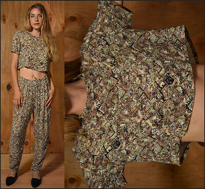 Vtg 90s two piece woven CROPPED BLOUSE + HAREM PANTS drape ethnic resort outfit