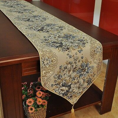 Newly Table Runner Vintage Jacquard Kitchen Dining Tea Table Cover Fringed Mat
