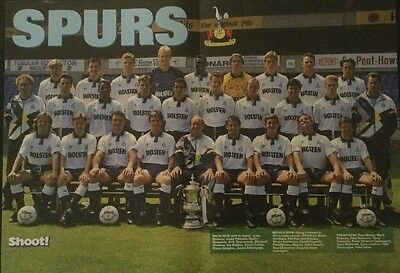 1991 STUNNING A3 Football TEAM picture poster TOTTENHAM SPURS with FA CUP