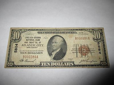 $10 1929 Atlantic City New Jersey NJ National Currency Bank Note Bill #5884 Fine