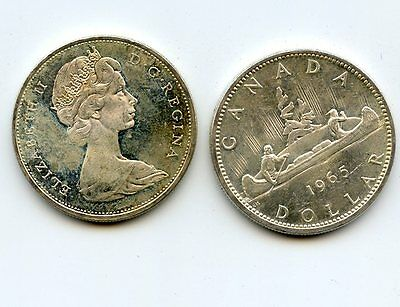 1965 Canada Silver Dollars.  Uncirculated.  2 coins