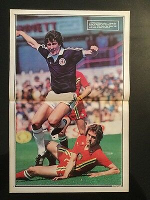 STUNNING A3 Football action picture poster PARLANE Scotland v DEACY Wales (1977)