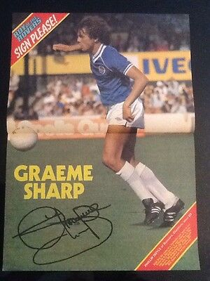 STUNNING A3 Football action picture/poster GRAEME SHARP, Everton (1980-91)