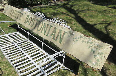 11 Foot Long Vintage Wood Sign Reads: Pauper Bostonian w/Hand Painted Flowers