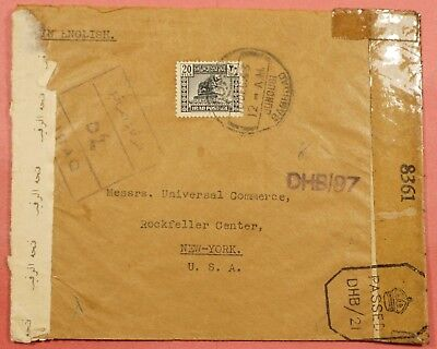 1943 Iraq Junousi Cancel Cover To Usa Wwii Censored