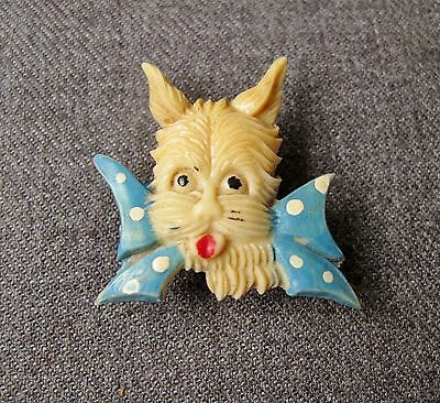 Vintage Dotted Huge Bow Red Tongue Yorkshire Terrier Ccelluloid Dog Pin