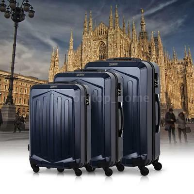 "TOMSHOO Hardside 3pcs Spinner Luggage Set (20""/24""/28"") Suitcase Dark Blue I2F1"