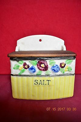 Vintage Yellow Floral Salt Box with Wooden Lid