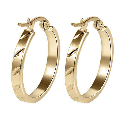 316L Stainless Steel Hoop Earrings Fashion Round 18K Gold Plated Women Jewelry