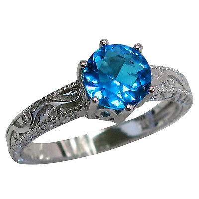 Wonderful Round Cut 1.5 Ct Blue Topaz 925 Sterling Silver Ring Size 7