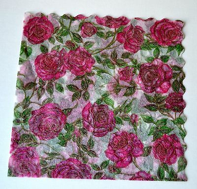PINK ROSES -  20 Vintage Rice Paper Napkins - arts and crafts decoupage, Italy