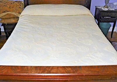 Vintage Ivory Color Chenille Double Bedspread with Fringe Edge