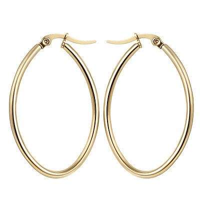 316L Stainless Steel Fashion Women Ladies Gold Plated Circle Oval Hoop Earrings