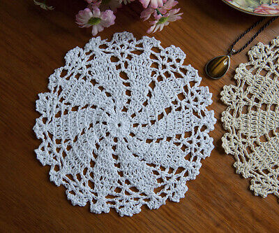 Chic Cotton Hand Crochet Doily Crocheted Placemat Pineapple Round 19CM White
