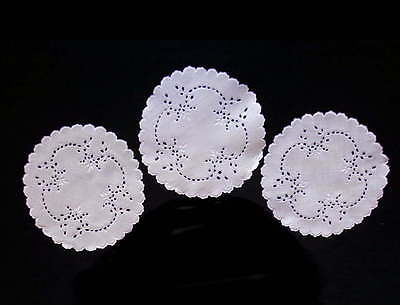 3 Antique White Linen Doilies Hand-embroidered Scottish Eyelet Handmade Lace