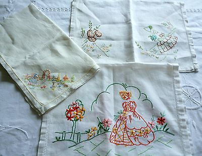 Selection of Embroidered Crinoline Lady Tray Cloths x 3