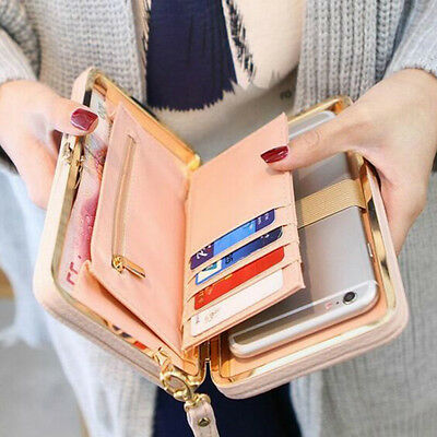Women's Bowknot Faux Leather Wallet Long Purse Phone Card Holder Clutch Classy