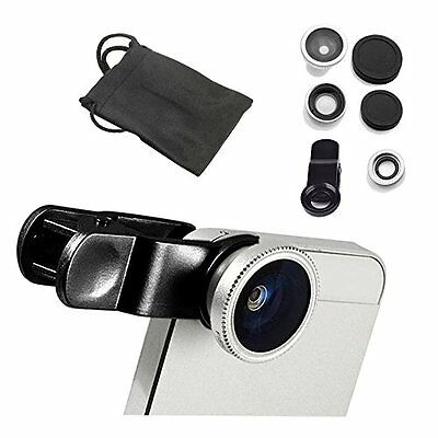 NEW 3 in1 Clip Lens Kit (Fish Eye ,Macro & Wide Angle) For Mobile Camera -Silver