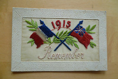 WW1 Silk embroidered postcard ' 1915 Remember '