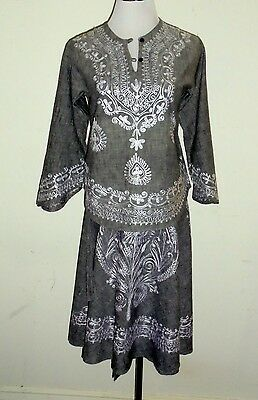 "Vintage Pakistan Indian Hippie Embroidered Tunic Top / Wrap Skirt S/M 36"" Bust"