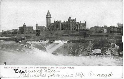 St Anthony Falls / Exposition Bldg Minneapolis MN vintage postally used in 1904