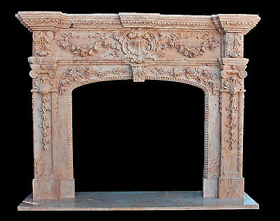 Hand Carved Italian Design Marble Fireplace Mantel,Floral Swags/Acanthus Carving