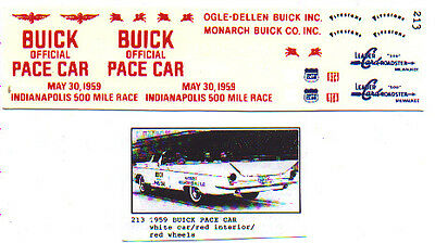 Fred Cady Decal #213 To Do The 1959 Buick Indianapolis Pace Car