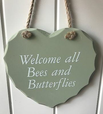 Heart Plaque Green Garden Sign 'Welcome all Bees Butterflies' Wall Hanging Boxed