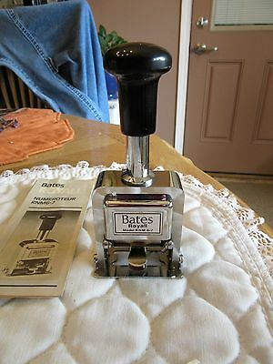Vintage Bates Royall Automatic Metal Numbering Stamp Machine # RNM6-7