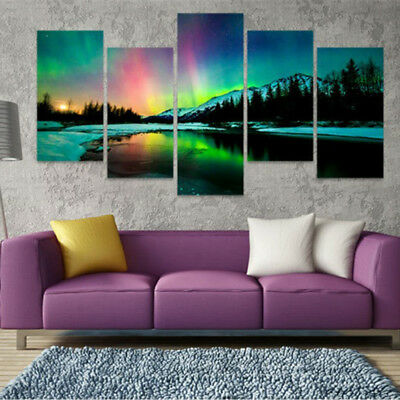 5pc/Set No Framed Canvas Prints Painting Home Art Deco Wall Picture Aurora-L