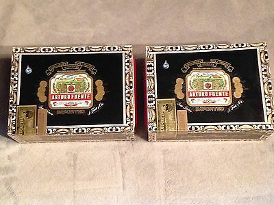 Lot Of 2 Arturo Fuente Chateau Pyramids Cigar Wood Crafts Box Aid Guitar Jewelry