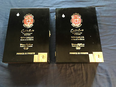 Lot Of 2 Fuente Wood Don Carlos Robusto Black Guitar Craft Aid Cigar Box Clasp