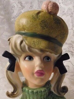 """VINTAGE ENESCO HEAD VASE MOD TEEN WITH PUFFY HAT 6"""" TALL MADE IN JAPAN 1960's"""