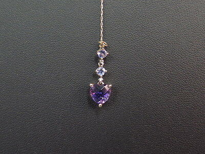 14k Yellow Gold & Amethyst Heart Pendant Jewelry w/ Chain Necklace 1.4g