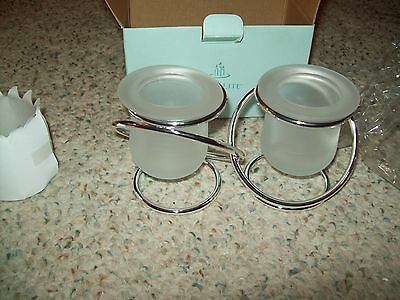 PartyLite Silver Plated Gemini Candle Holder ~ NIB