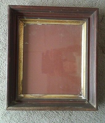 Antique 19th C Victorian Deep Well Picture Frame Wavy Glass w Bubbles