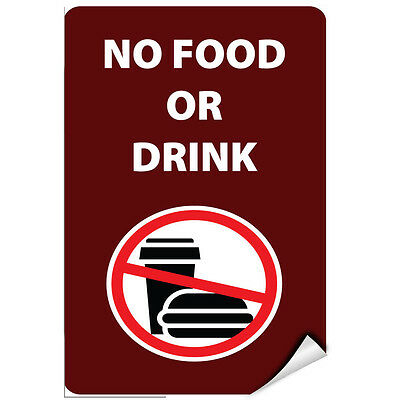 No Food Or Drink Style 1 Activity Sign Park Signs LABEL DECAL STICKER