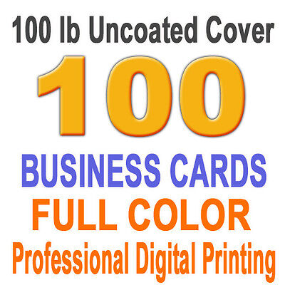 100 Customized Business Cards on 14pt C2S gloss cover paper, 1 side full color