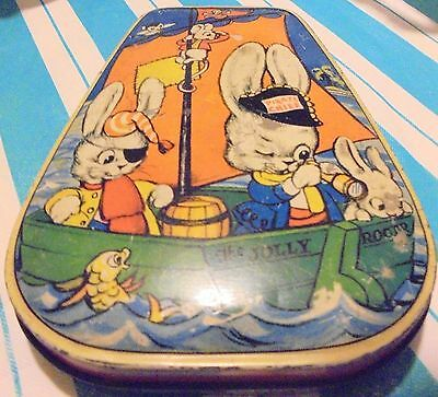 Vintage Empty Candy Tin From England W/ Cartoon Characters Lid
