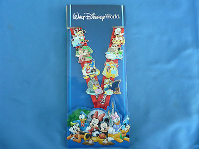 RESORTS & PARKS WDW  Disney  Pin 2013 SET of 8 pins & LANYARD starter Set NEW