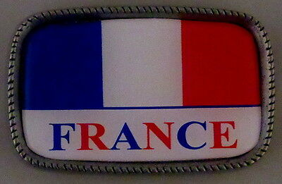 FRANCE FLAG Antique Silver Belt Buckle USA MADE French