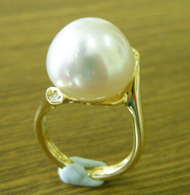 WHITE SOUTH SEA 15.4mm PEARL 100% UNTREATED+DIAMONDS+18ct SOLID Y GOLD RING+CERT