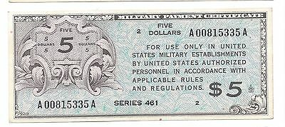 Series 461  5 Dollars  ABOUT UNC-UNC  Rare