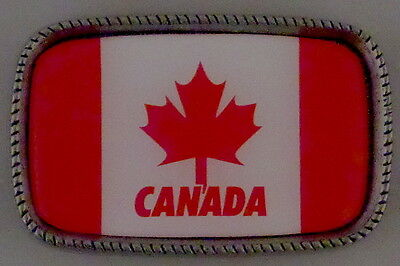 CANADA FLAG Antique Silver Belt Buckle USA MADE Canadian